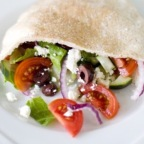 Greek Salad-Stuffed Pita with Chicken and Hummus!